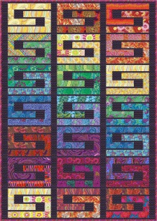 Kaffe Fassett Rainbow on Black (Purchase the kit on Colourwerx.com)